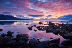 Fargerik solnedgang fra Hjertvika