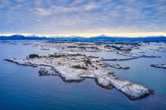 Rindarøya -  Dronebilde - Vinter